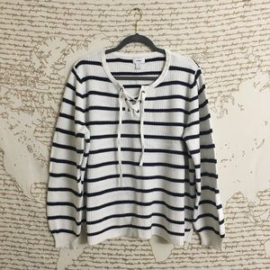 Old Navy Striped V Neck Lace Up Sweatet